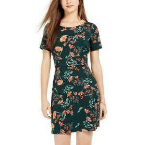 B. Darlin Juniors' Belted Floral-Print Mini Dress,